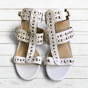 Marc Fisher White Strappy Ankle Strap Sandals